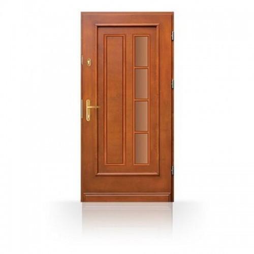 Dřevěné vchodové dveře CB-18a včetně masivní zárubně