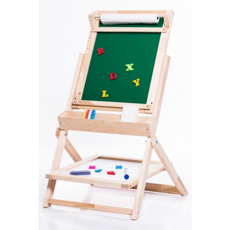 Dětská dřevěná otáčecí tabule OL-K žlutá, příslušenství zdarma