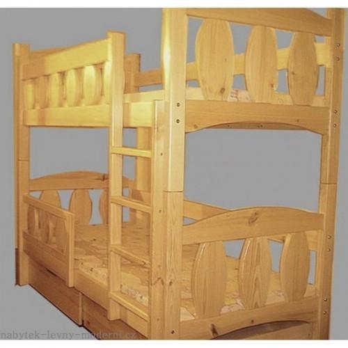 Patrová masivní postel Michal, rošty a matrace Zdarma