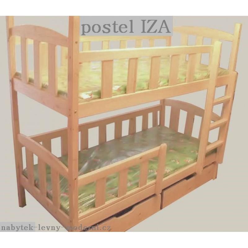 Patrová dřevěná postel Iza 2 s rošty a matracemi Zdarma