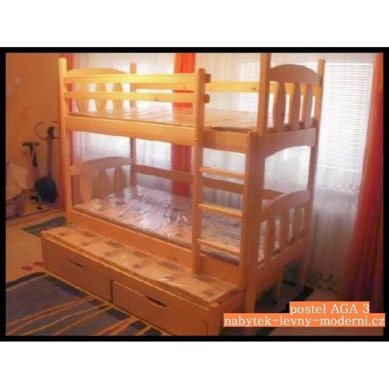 Patrová masivní postel Aga 3-matrace, rošty a úložný prostor v ceně
