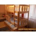 Patrová dřevěná postel z masivu Nikolas tříosobová, všechny rozměry STEJNÁ CENA!