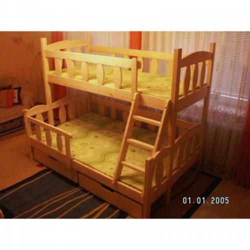 Patrová postel Remix 3 z borovicového masivu, rošty a matrace zdarma