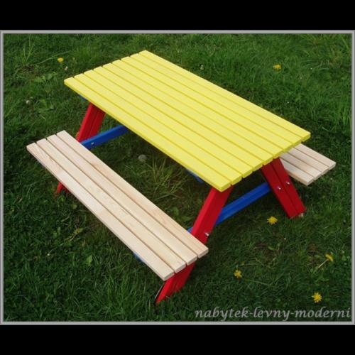 Dětský zahradní set Piknik -žlutý stůl
