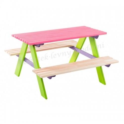 Dětský zahradní set Piknik - růžový stůl